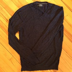 Simon's le31 Navy Blue Bamboo Soft V-neck Sweater